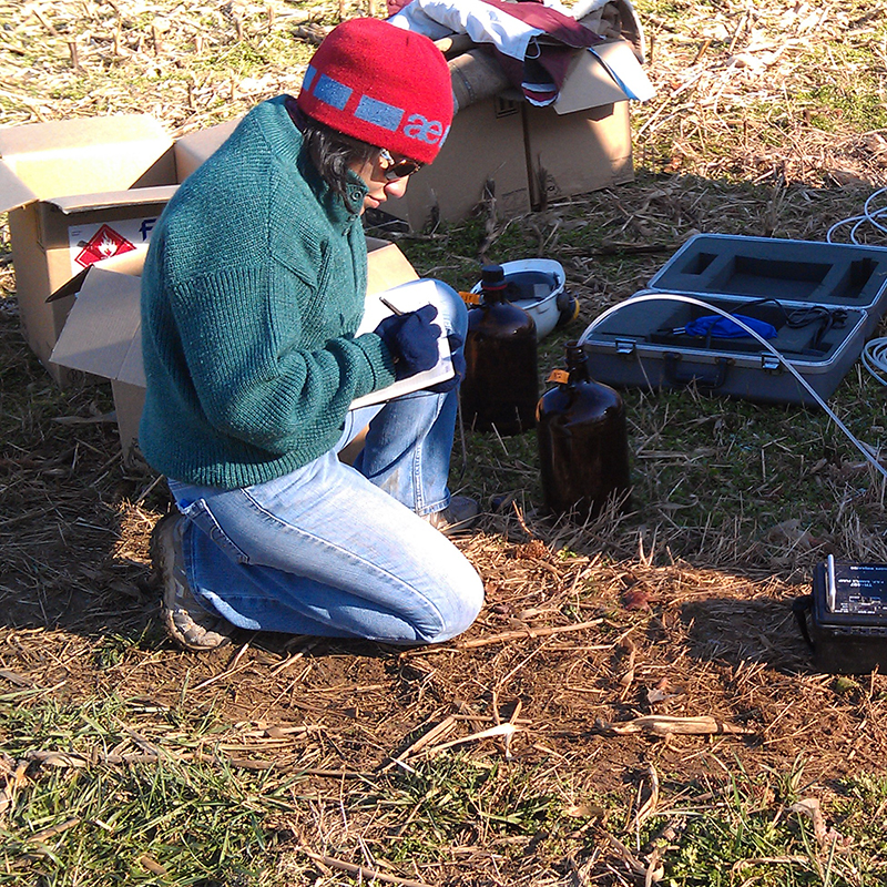 Graduate student working in the field