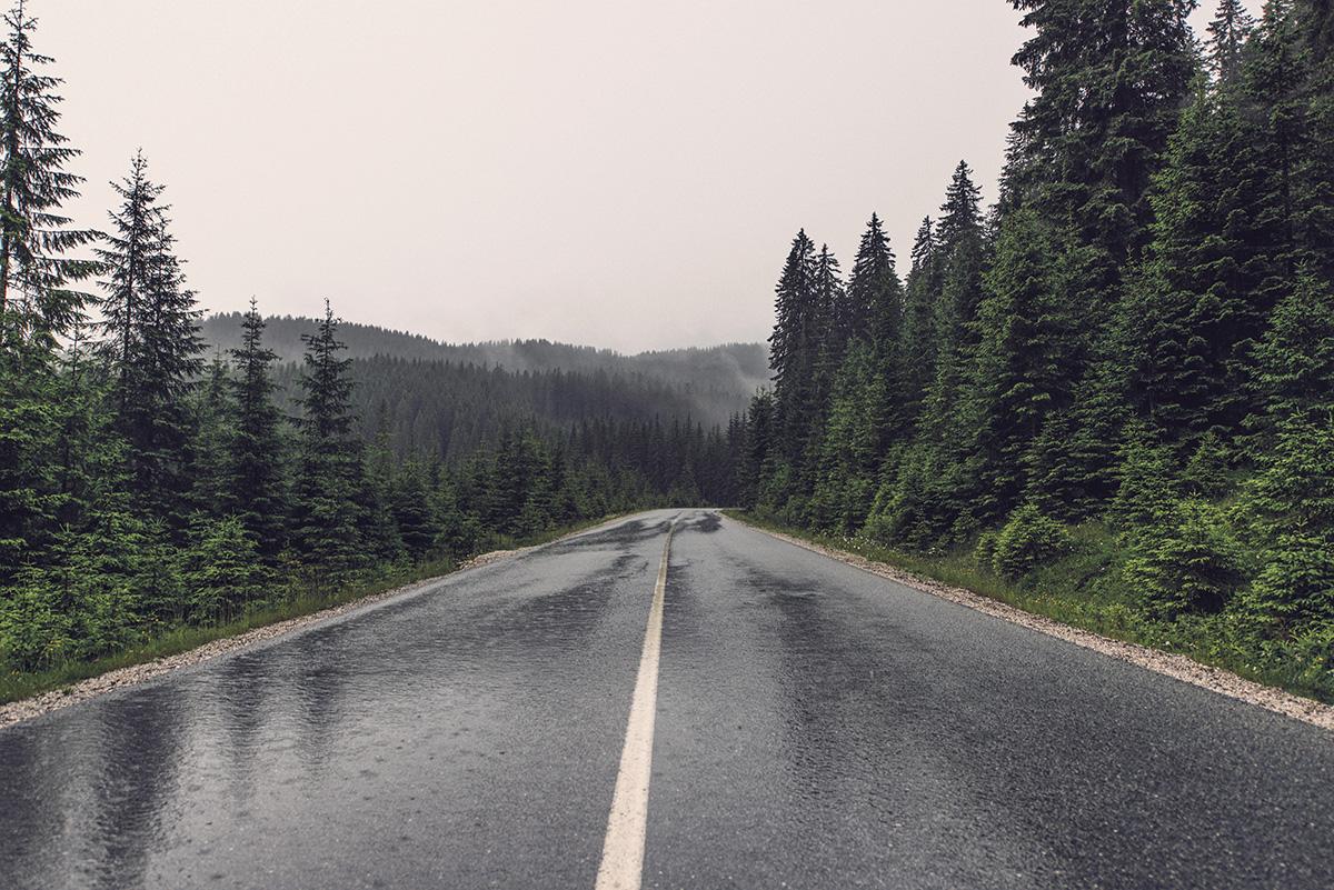 Rain on highway