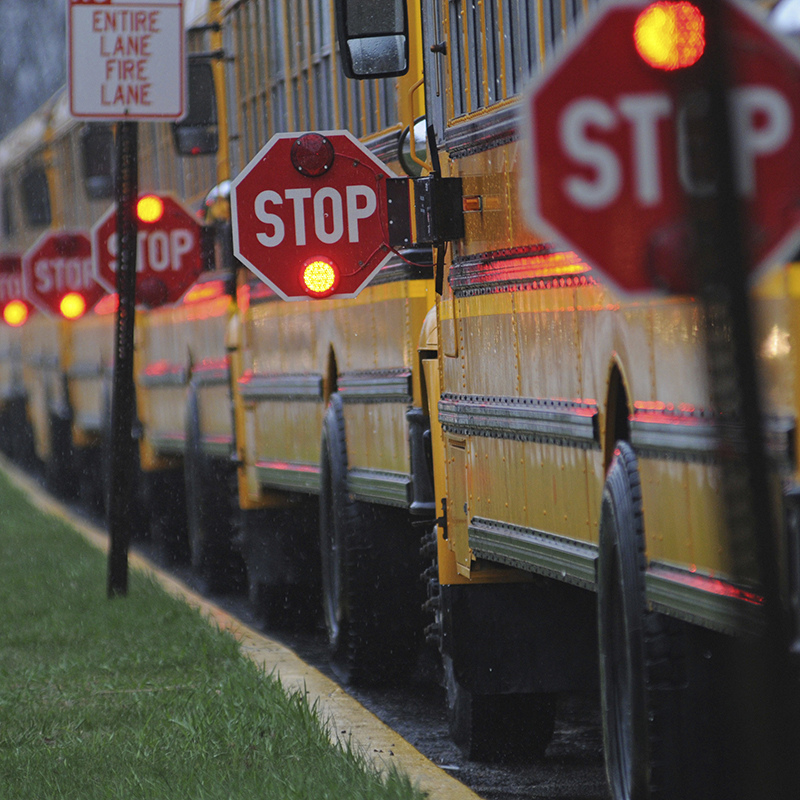 School buses with stop signs lit